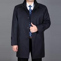 中年男装爸爸装秋冬外套厚老年人男中长款可脱卸内胆棉衣 深蓝色 9108