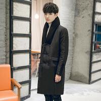 冬季男士中长款羽绒服男韩版修身大领子白鸭绒羽绒衣潮流新款 黑色 M