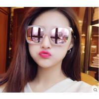 个性太阳镜炫彩反光镜片女粉色反光墨镜 新品时尚大框圆脸太阳眼镜潮