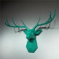 现代家居客厅 玄关服装店酒吧 墙面装饰品 薄荷绿色鹿头壁挂壁饰