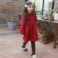 女童新年连衣裙2017冬季新款儿童加绒红色呢子裙子韩版毛呢公主裙