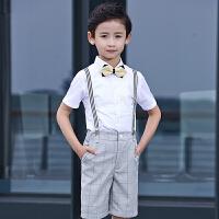 儿童礼服夏季演出服套装花童主持人服装幼儿园男孩背带裤