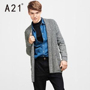 以纯A21秋装新款长袖毛衣男 翻领纯色百搭中长款针织衫外套男2017新品