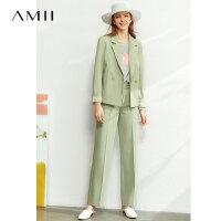 【到手价:210元】Amii极简通勤OL风气质西装休闲长裤2020春季新款帅气时尚套装女