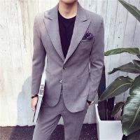 韩国男士时尚休闲小西装外套英伦潮流免烫修身西服两件套结婚礼服