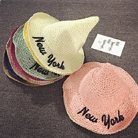 儿童草帽夏天沙滩帽遮阳帽男女宝宝帽子防晒尖尖巫师帽手工渔夫帽
