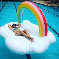 充气云朵彩虹漂浮浮舟游泳圈充气床大泳圈