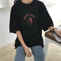 新款韩版宽松显瘦百搭圆领套头T恤女上衣印花休闲打底衫 黑色 均码