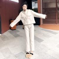 时尚两件套装女秋冬季2018新款名媛气质韩版长袖短外套呢子长裤潮