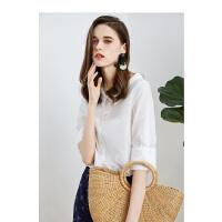 【一口价98元】娃娃领衬衣设计感小众2019春季韩版条纹上衣五分袖洋气雪纺衬衫女
