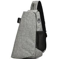 胸包男士大容量斜挎包包�\�有蓍e�渭绨��n版潮流背包�敉饪绨���包 帆布深灰色 USB充�+耳�C孔
