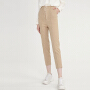 【3件2折 到手价100】LILY女装气质浅驼小格纹松紧腰系带宽松九分裤休闲裤