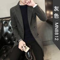 韩版修身羊毛呢子大衣男中长款青年学生双排扣毛呢外套冬季风衣潮