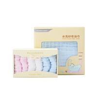 婴儿纱布浴巾吸水初生儿手帕口水巾6条