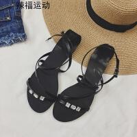 平底凉鞋女夏韩版新款百搭露趾一字扣带水钻学生平跟罗马鞋潮 黑色