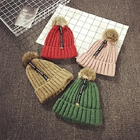 儿童毛线帽冬季针织套头帽男女宝宝帽子秋天毛球护耳帽保暖韩版潮