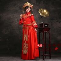 新款服新娘礼服嫁衣中式结婚红色敬酒服复古旗袍和服龙凤褂冬 大红色 (不要赠品)