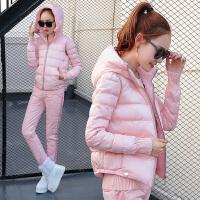 时尚棉衣套装外套女短款新款秋冬女装加厚棉袄马甲羽绒三件套