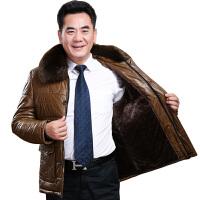 男士大码皮衣外套男大码男装冬季新款棉衣加绒毛领中老年皮棉衣宠潮