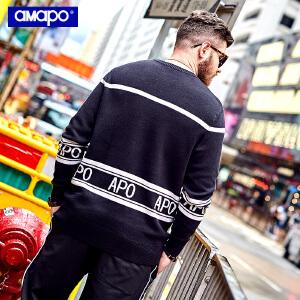 【限时抢购到手价:99元】AMAPO潮牌大码男装加肥加大码宽松嘻哈胖子打底衫毛衣针织衫男潮