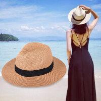 遮阳帽女白色英伦礼帽海边防晒可折叠韩版度假沙滩帽草帽