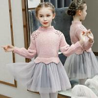 女童毛衣连衣裙秋冬装儿童洋气针织公主纱裙子