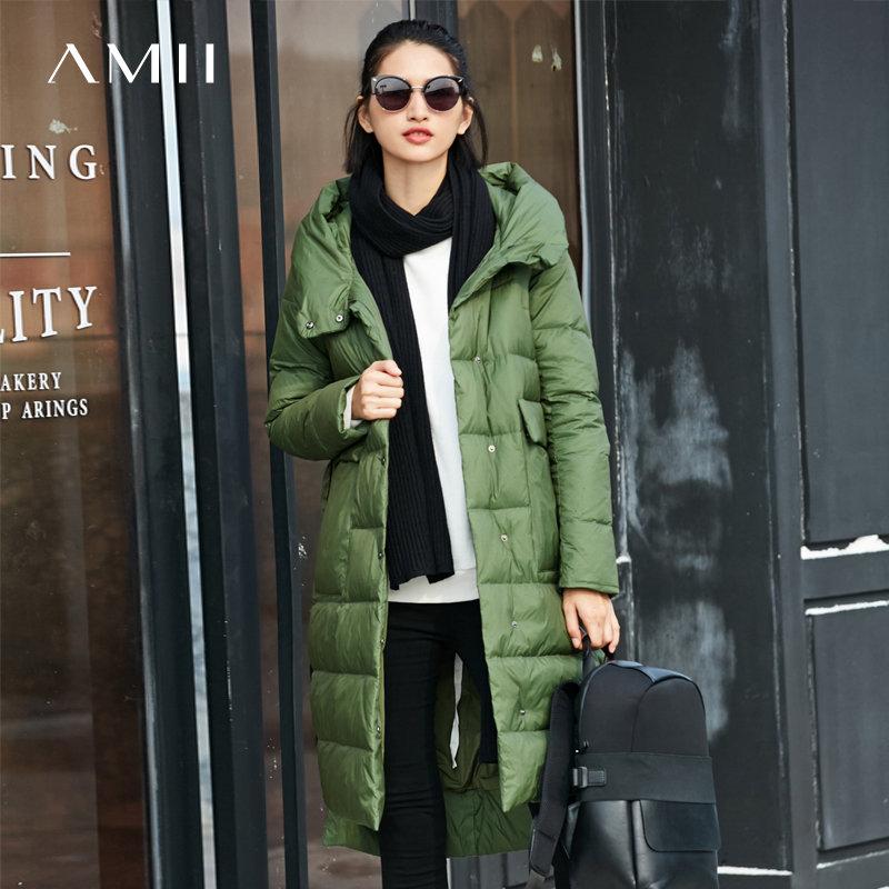 【大牌清仓 5折起】Amii轻奢90白鸭绒羽绒服女冬季撞色织带口袋连帽外套