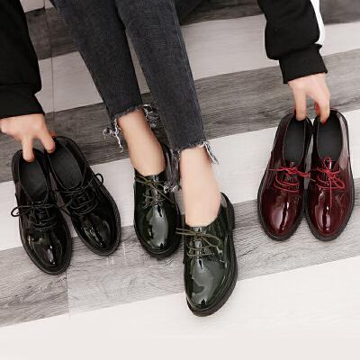 2018春黑色小皮鞋女学生中跟系带时尚漆皮百搭单鞋圆头英伦风女鞋