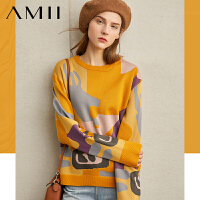 【到手价:182元】Amii极简潮流韩版个性毛衣女2019冬季新撞色拼接宽松圆领套头上衣