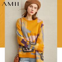Amii�O�潮流�n版��性毛衣女冬季新撞色拼接��松�A�I套�^上衣