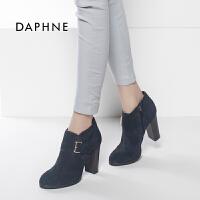 达芙妮专柜正品时尚圆头粗高跟潮女短靴