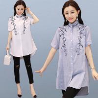 2018夏季新款绣花立领条纹短袖衬衣大码宽松中长款衬衫女装潮