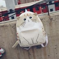 韩版小猫可爱帆布双肩包小清新学院风初中生学生书包休闲旅行背包