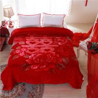 伊丝洁家纺2017秋冬季新款棉被子拉舍尔毛毯双层加厚双人云盖毯婚庆盖毯床上用品 200cmx230cm 5.2kg
