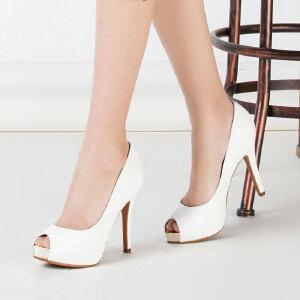 Daphne/达芙妮女鞋春季时尚舒适超高跟防水台PU鱼嘴女单鞋-