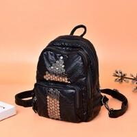 水洗皮铆钉双肩包女休闲背包2019新款韩版潮pu时尚女包旅行小包包