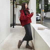 韩观大码女装2018秋冬新款连衣裙微胖mm洋气套装显瘦胖妹妹藏肉两件套 上衣+裙子