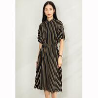 【券后预估价:187元】Amii极简法式复古连衣裙2020夏季新款宽松撞色条纹翻领收腰衬衫裙