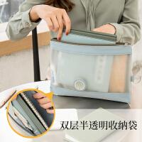 a4文件袋透明拉链大容量补习手提学生用文件包牛津布资料袋防水