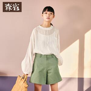 森宿灯笼袖衬衣春装2018新款文艺宽松薄透圆领衬衫女