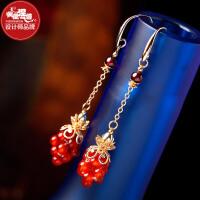 凤凰涅磐耳环女 时尚石榴石红玛瑙镀长款耳饰 复古中国风手工饰品