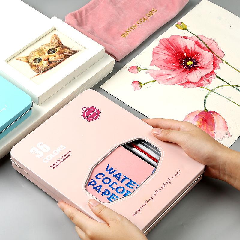 固体水彩颜料套装学生36色初学者手绘粉饼铁盒水彩画颜料分装水彩