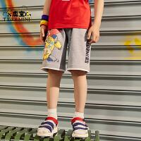 小虎宝儿男童纯棉五分短裤儿童黑色外穿夏季薄款2021中大童