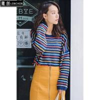 秋季韩版新款学生时尚彩虹条纹圆领针织衫宽松懒惰套头毛衣薄款女 均码