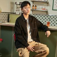 [1件2.5折价75元]唐狮黑色辑明线工装衬衫男长袖秋季多口袋时尚个性全棉衬