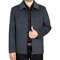 秋冬季男装毛呢夹克衫中老年爸爸装翻领羊绒外套中年男士羊毛外衣 深灰色 偏深