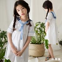 韩国童装女童学院风海军领连衣裙2018夏新款韩版儿童短袖夏装裙子