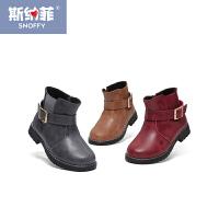 斯纳菲女童马丁靴 真皮短靴2017冬新款公主皮靴韩版童鞋儿童靴子