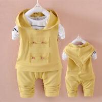 春装套装潮 婴儿童衣服春季新款0一1岁婴幼儿外出服2-3岁男女宝宝 黄 色
