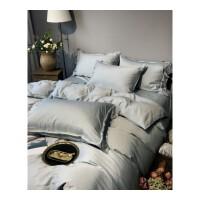 美式简约60支纯色双面丝滑色织天丝四件套夏季素色被套床单床品